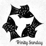 Trinity Sunday. Christian holiday. Three fish, located symmetrically. Black and White vector illustration