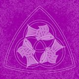 Trinity Sunday. Christian holiday. Three fish, located symmetrically. On a Purple grunge background. Trinity Sunday. The concept of a religious Christian holiday Royalty Free Stock Photography