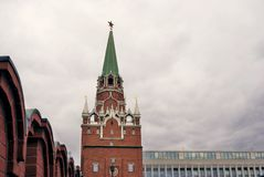 Trinity tower of Moscow Kremlin. Color photo Royalty Free Stock Images