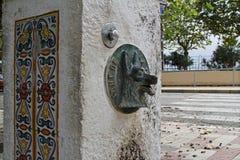 Trinkbrunnen mit Hund-` s gehen in Calella voran Lizenzfreies Stockfoto