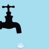 Trinkbrunnen- und Wassertröpfchenvektorillustration Stockfotografie