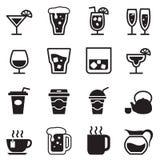 Trinken, Glas, Krug, Schalenikonen eingestellt Stockbilder