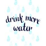 Trinken Sie mehr Wasser Handgeschriebenes Motivationsplakat des Vektors Lizenzfreies Stockbild