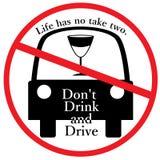 Trinken Sie nicht und fahren Sie Zeichen Stockbild