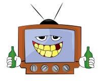 Trinkende Fernsehkarikatur Lizenzfreie Stockfotos