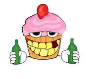 Trinkende Karikatur des kleinen Kuchens Lizenzfreie Stockfotografie