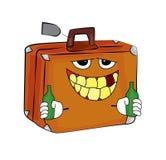 Trinkende Kofferkarikatur Lizenzfreie Stockfotografie