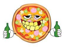 Trinkende Pizzakarikatur Stockfotografie
