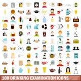100 trinkende Prüfungsikonen eingestellt, flache Art Stockfoto
