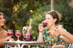 Trinkende Sangria der jungen Frau mit Freunden Lizenzfreie Stockfotografie