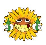 Trinkende Sonnenblumenkarikatur Lizenzfreie Stockfotografie