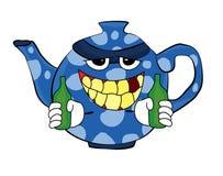 Trinkende Teekannenkarikatur Stockfotografie
