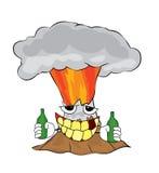 Trinkende Vulkankarikatur Stockbild
