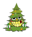 Trinkende Weihnachtsbaumkarikatur Stockfotos