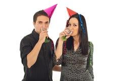 Trinkender Champagner der Paare Stockbilder