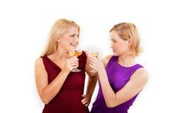Trinkender Champagner der schönen Frau der Party zwei Lizenzfreies Stockbild