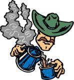 Trinkender Kaffee des Cowboys Stockbilder