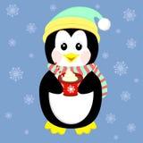 Trinkender Kaffee des netten Pinguins, reizende Weihnachtsillustration Stockfotografie