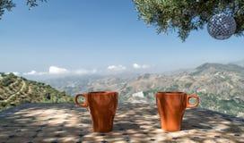Trinkender Kaffee in Spanien Stockbilder