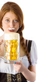Trinkender Krug Oktoberfest-Mädchens Bier Stockfotografie