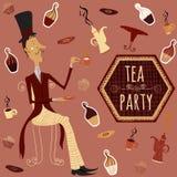 Trinkender Tee des englischen Mannes Kartenteezeit-Elementsammlung der Weinlese Hand gezeichnete mit Kuchen, Schale, Teekanne Lizenzfreie Stockfotos