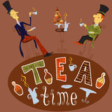 Trinkender Tee des englischen Mannes Kartenteezeit-Elementsammlung der Weinlese Hand gezeichnete mit Kuchen, Schale, Teekanne Stockbild
