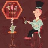 Trinkender Tee des englischen Mannes Kartenteezeit-Elementsammlung der Weinlese Hand gezeichnete mit Kuchen, Schale, Teekanne Lizenzfreies Stockbild