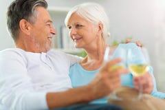 Trinkender Wein der älteren Paare Lizenzfreies Stockfoto
