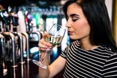 Trinkender Wein der attraktiven Frau Lizenzfreies Stockfoto
