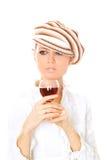 Trinkender Wein der Dame Stockfoto