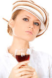 Trinkender Wein der Dame Lizenzfreie Stockfotos