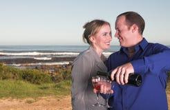 Trinkender Wein der Paare stockfotos