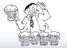 Trinkendes Bier des Karikaturmannes Stockbilder