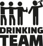 Trinkendes Team mit trinkender Mannikone des Bieres lizenzfreie abbildung