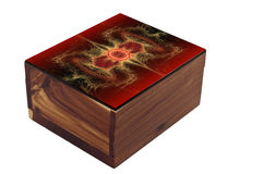 Trinket Box Closed. Wooden Trinket Box with Fractal Design on Lid Isolated on White Stock Photography