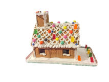 Trinket cake house in the snow. Which has some delicious candys Royalty Free Stock Photo