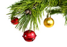 Trinkets. Christmas tree branch with trinkets royalty free stock images