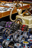 Trinkets, jewelry and antiques. Different colored trinkets displayed in the waiting customers Royalty Free Stock Image