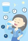 Trinkwasser der Frau den ganzen Tag Lizenzfreie Stockfotos
