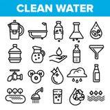 Trinkwasser-Linie Ikonen-Satz-Vektor Natursorgfalt Lassen Sie frisches Trinkwasser fallen Getränk Eco-Ikone Dünne Entwurfs-Netz-I vektor abbildung