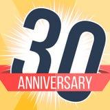 Trinta anos de bandeira do aniversário 30o logotipo do aniversário Ilustração do vetor Imagens de Stock