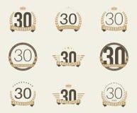 Trinta do aniversário anos de logotype da celebração 30a coleção do logotipo do aniversário Fotografia de Stock Royalty Free