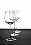Trio. Three vine glasses Stock Image