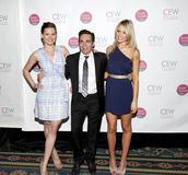 Trio. NEW YORK, NY - MAY 20: (L - R) Jill Flint, Mario Cantone, and Katrina Bowden attends the 2011 Cosmetic Executive Women Beauty Awards at The Waldorf-Astoria royalty free stock images