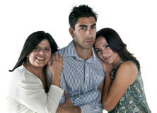 Trio. Mature womans falling in love with young latin man Royalty Free Stock Images