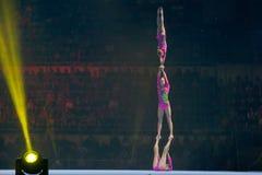 Trio acrobatique photographie stock