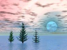 Trio arctique. Lever de soleil Images libres de droits