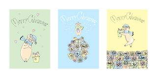 Trio av gåvor för svinjul och för nytt år royaltyfri illustrationer