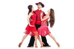 Trio av isolerade dansare Royaltyfri Foto