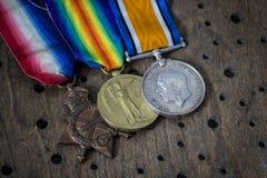 Trio av medaljer för världskrig ett Fotografering för Bildbyråer